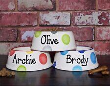 medium slanted dog bowl hand painted personalised ceramic dog dish feeder unique