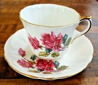 Royal Eton Pink Rose Tea Cup & Saucer Staffordshire Bone China England Gold Trim