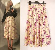 Vintage Laura Ashley Floral Pastel Yellow Midi Maxi Skirt, 10