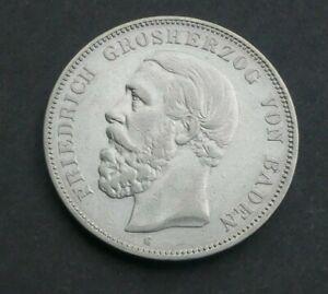 Baden 5 Mark 1888 G Friedrich I.  Silber J 27  Kaiserreich  sehr schön