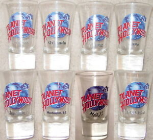 "8 Planet Hollywood 3.5"" SHOT GLASS Collection Flared Clear PH Globe Logo Jiggers"