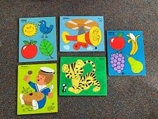 Vintage Playskool Wooden Puzzles Lot of 5 Colors, Helicopter, Favorite Fruits,