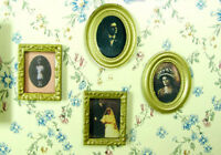 Vintage 4pcs 1:12 Dollhouse Miniature Framed Wall Oil Painting Art Picture Decor