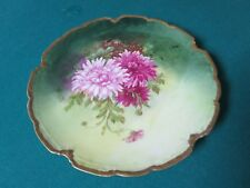"ROYAL LIMOGES 1900 TO 1950S chrysanthemum   FLOWERS COLLECTOR TRAY 10"" [*153B]"