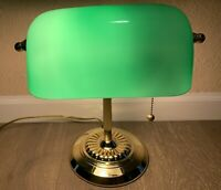 VTG Banker's Desk Lamp W/ Green Shade Glass Brass Base Office Library Tested!