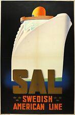 Vtg Orig. Travel Poster SAL - Swedish American Line - Ake Rittmark ca. 1935