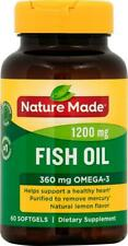 Nature Made Fish Oil 1200mg OMEGA-3 60 Softgels Dietary Supplement Lemon Flavor