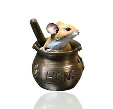 More details for mice cold cast bronze mouse on honey pot - hand painted - michael simpson.