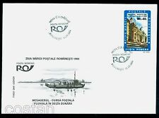 1994 Postal river ship,Central Post Office Bucharest,Stamp Day,Romania,5004,FDC