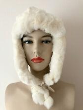 Genuite Rabbit Fur Hat, Handmade Luxurious Ivory Ushanka Fashion Statement