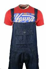 Mens Casual Dungarees Jeans Denim Navy Blue Washed Turn Up
