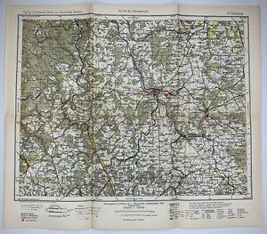 Würzburg German Empire Original Antique Lithograph Map 1903 Royal Prussian