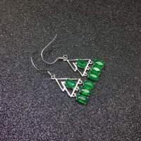 Noble Romantic Natural Colombian Emerald Gemstone S925 Silver Women Eardrop Gift
