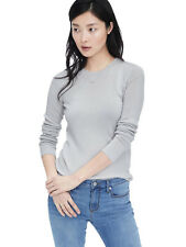NWT Banana Republic Women's Merino Ribbed Crew Sweater Color Light Gray Size XL