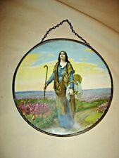 "Antique Flue Cover: Lady with Staff. Original chain hanger. 7"" diameter. 9568"