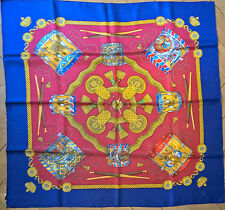 HERMES Silk Carré Les Tambourg - Blue / Red / Gold - Brand new-  Gorgeous