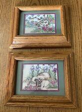 2 Matching Bunny Rabbit Floral Framed Prints Matte Signed Laurie Koragaden