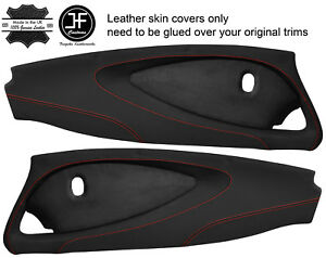 RED STITCH 2X FULL DOOR CARD NAPPA & SUEDE COVERS FOR LOTUS ELISE S2 STYLE 2