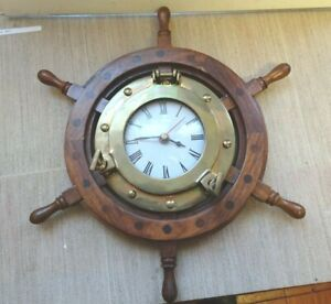 Decorative Ships Brass Porthole mounted in Wheel inset Clock Battery operated