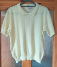 Dobbies Vintage Lemon Jumper Crochet Granny Style Collar 100% Acrylic UK14/16