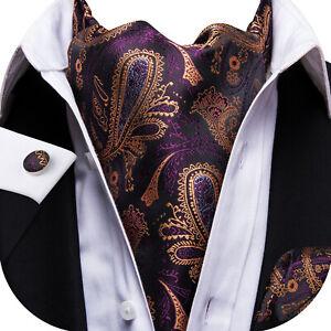 HT Men's Silk Ascot Cravat Set Gold Purple Burgundy Paisley Floral Solid Hankey