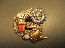 Watering Can, Plant Pot & Flowers Pin - Brooch Gold Tone with Antique Finish