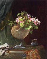 Oil painting Martin Johnson Heade - Victorian Still Life with Apple Blossoms