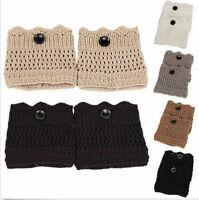 Womens Girl Knit Crochet Boot Cuffs Toppers Short Ankle Socks Winter Leg Warmers