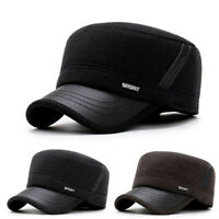 Gift Military Hats Warm Cadet Army Cap With Earflaps Men's Woolen Flat Top Caps