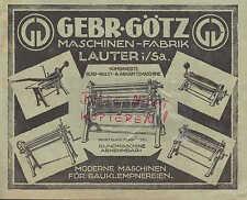 LAUTER, Werbung 1927, Gebrüder Götz Maschinen-Fabrik Rund-Wulst-Abkantemaschine