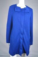 NEW Women's Elle Solid Bow Coat Jacket Blue Snap Front Size Large L