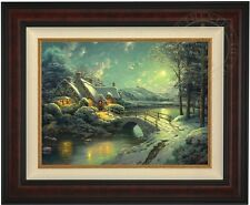 Thomas Kinkade Christmas Moonlight 18 x 24 LE G/P Canvas (Burl Frame)