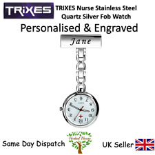 Personalised & Engraved Triexs Nurse Stainless Steel Quartz Silver Fob Watch