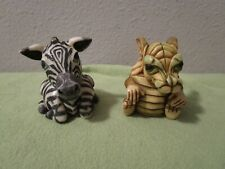 Rare Set Of 2 Harmony Ball Pot Bellys Figurines Zebra Striper Dragon Blazer