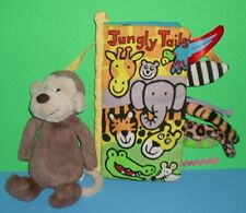 Bashful Brown JellyCat Monkey Sm Stuffed n Jungly Tails Crinkly Cloth Soft Book