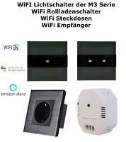 Wifi WLAN Touch Lichtschalter 1 oder 2 Fach Steckdose Alu Glas Schwarz M3