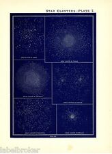 ANTIQUE PRINT VINTAGE 1890 ASTRONOMY SCIENCE STAR CHART MAP GREAT CLUSTERS