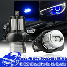 Pair Blue LED Headlight Angel Eyes Halo Rings Bulbs Light For BMW E90 E91 06-08