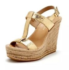 Delman Women's Trish Gold Snake Print Leather Espadrille Wedges 1279 Size 9.5 M