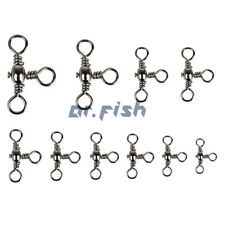 30/60/120pcs Fishing Stainless Steel 3-Way Swivels 35-175Lb T-Turn Connector