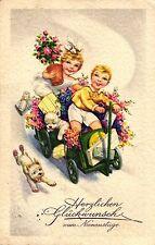 Namenstag, Kinder mit Bollerwagen, Hund, Blumen, 1944