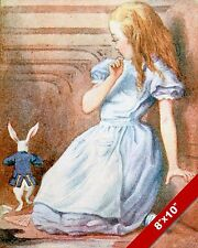 ALICE IN WONDERLAND /& THE WHITE RABBIT LEWIS CARROL CANVAS PAINTING ART PRINT