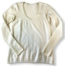 Women's 100% Cashmere Sweater Large Ivory V-Neck Long Sleeve Pullover Knit