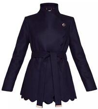 Ted Baker AASTAR Navy Blue Scallop Edge Short Wrap Coat RRP £269 New !