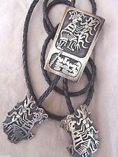Signed Vintage HOPI Sterling Silver Overlay BOLO with Matching Tips, Puhuhefvaya