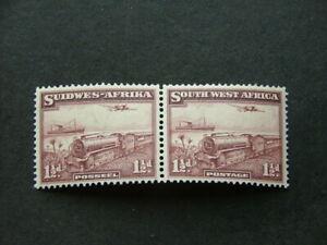 South West Africa 1937 1½d purple-brown SG96 UM/MNH Pair