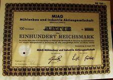 Vintage German bond Muhlenbau & Industry Miag 100 Rmarks, Braunschweig 8/1932
