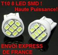 2 AMPOULES 8 LED SMD W5W BLANC XENON VEILLEUSE T10 PUSH WEDGE LIGHT BULB WHITE