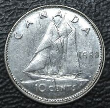OLD CANADIAN COIN 1968 - 10 CENTS **ERROR OFF CENTRE - .500 SILVER - Eliz II