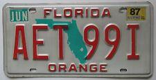 Florida 1987 ORANGE COUNTY License Plate HIGH QUALITY # AET 99I
